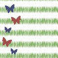 Green simple green grass stripes postcard freshness tea vegetation with red and blue butterflies vertically with the left edge iso