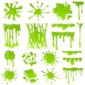 Green slime. Goo blob splashes, toxic dripping mucus. Slimy splodge and drops, liquid borders. Cartoon isolated vector