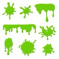 Green slime. Goo spooky dripping liquid, blots and splashes. Border for halloween scary slime banner. Vector isolated