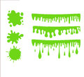 Green slime set on checkered transparent background. Paint drop abstract .