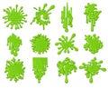 Green slime splats set