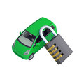 Green small car and combination lock d render isolated on white background Stock Images