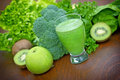 Green smoothie organic juice is healthy drink Stock Photos