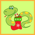 Green snake of with Boots Stock Image