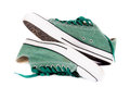 Green sneakers pair of isolated on white background Stock Photography