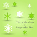 Green snowflake marry Christmas card Royalty Free Stock Images