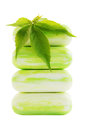 Green soap pile of with leaf of wild grape Royalty Free Stock Images