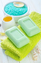 Green soap on the towels Royalty Free Stock Photos