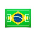 Green soccer field brazil flag vector background illustration Royalty Free Stock Photos