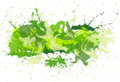 Green spatters on the white fone many and spray Royalty Free Stock Photography