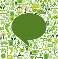 Green speech bubble design with ecology icons Royalty Free Stock Image