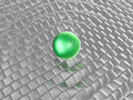 Green sphere on grey cubes as abstract background Royalty Free Stock Images