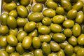 Green spicy olives Royalty Free Stock Images
