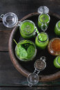 Green spinach smoothie Royalty Free Stock Photo