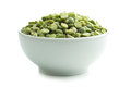 Green split peas in bowl. Royalty Free Stock Photo