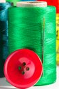 Green spool of thread with needle and button close up Royalty Free Stock Photos