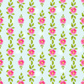 Green spring floral seamless pattern with pink beautiful flowers