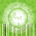 Green spring round frame strips butterflies vector eps Royalty Free Stock Photos