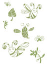 Green spring set with bee fly and leafs silhouette flowers available in format Royalty Free Stock Photos