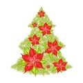 Green spruce made of red poinsettia vector illustration Royalty Free Stock Image