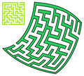 Green square and deformed maze x on a white background Royalty Free Stock Photos