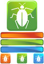 Green Square Icon - Cockroach Royalty Free Stock Photos