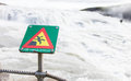 Green square sign - Warning for risk of falling Royalty Free Stock Photo