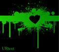 Green stain with heart on black bg Royalty Free Stock Photos