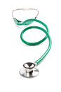 Green stethoscope stretched out full size isolated white background Stock Image