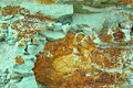Background of green stone with orange insertions Royalty Free Stock Photo
