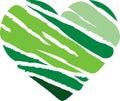Green Stripe Heart Royalty Free Stock Photo