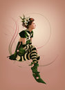 Green striped dressed girl d computer graphics of a with a dress and flowers in her hair Stock Images