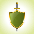 Green striped shield with sword Royalty Free Stock Photo