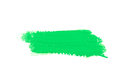 Green stroke of the paint brush on white paper Stock Image