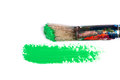 Green stroke of the paint brush on white paper Royalty Free Stock Photography