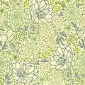 Green succulent plants seamless pattern background vector texture with hand drawn doodle seaweed Stock Photography