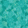 Green succulents seamless pattern background vector with hand drawn elements Stock Images