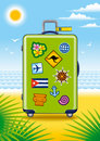 Green suitcase for travel with stickers Royalty Free Stock Photo