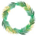 Green summer tropical border frame wreath with exotic jungle palm tree. Isolated vector design element on light beige background.