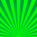 Green sunbeams halftone background. Vector illustration.