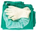 Green surgical clothing and gloves Royalty Free Stock Photo