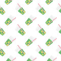Green sweet water with lime and lemon. Seamless pattern.