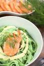 Green Tagliatelle with Cream Sauce and Shrimp Stock Photography