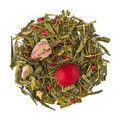 Green tea blend sencha cranberry rose raw isolated on pure white Royalty Free Stock Photos