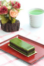 Green tea cake Stock Photos