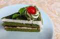 Green tea cake in the breakfast Royalty Free Stock Image