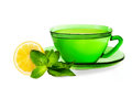 Green tea cup of with mint and lemon isolated on white Stock Images