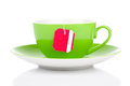 Green tea cup teabag white background Royalty Free Stock Images