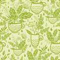 Green tea cups seamless pattern background vector with hand drawn elements Royalty Free Stock Photo