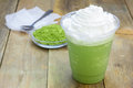 Green tea frappe in plastic cup homemade Stock Image